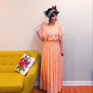70s Peach Angel Sleeve Maxi Dress